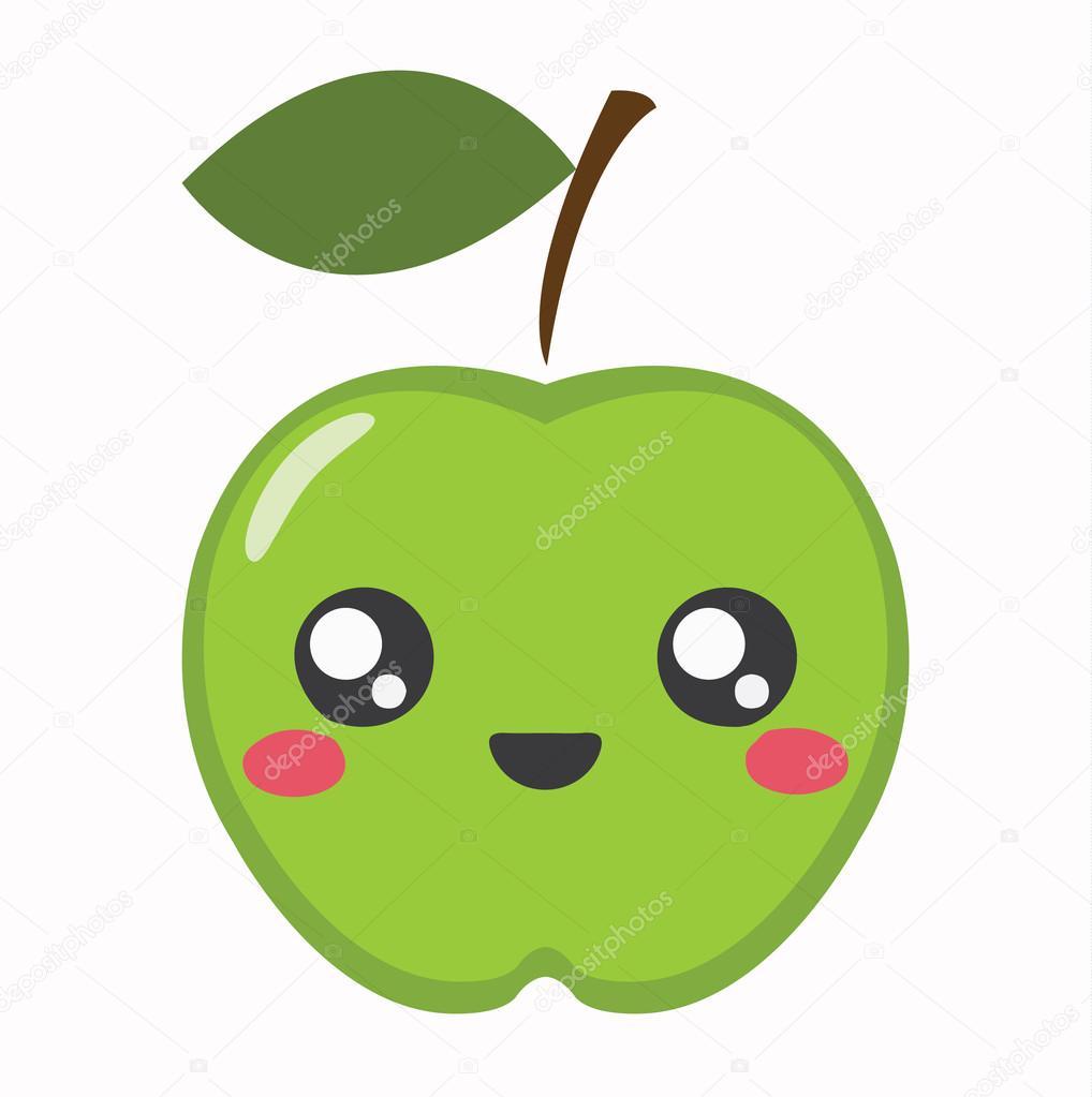 apple kawaii cartoon  u00edcone bonito vetor de stock green apple pictures clip art green apple clipart free