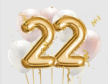 Happy 22th birthday gold foil balloon greeting background. 22 years anniversary logo template- 22th celebrating with confetti. Photo stock