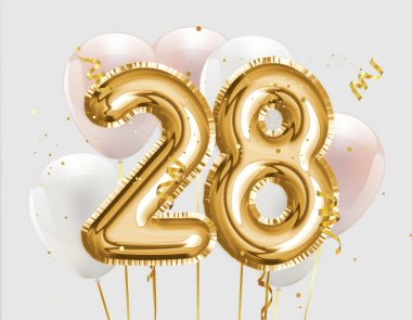 Happy 28th birthday gold foil balloon greeting background. 28 years anniversary logo template- 28th celebrating with confetti.