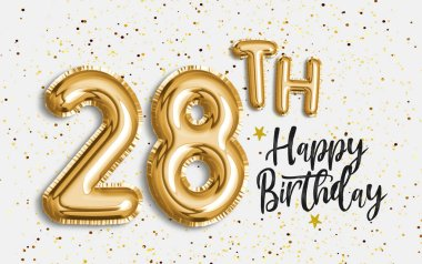 Happy 28th birthday gold foil balloon greeting background. 28 years anniversary logo template- 28th celebrating with confetti. Photo stock.