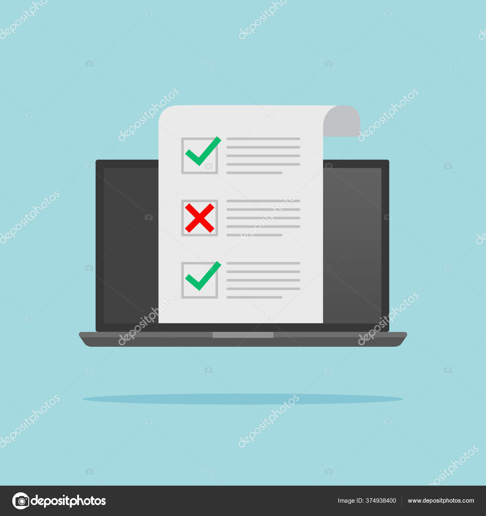 Computer Laptop Online Quiz Form Checklist Screen Choice Survey Concepts Stock Vector C Fayethequeen93 374938400