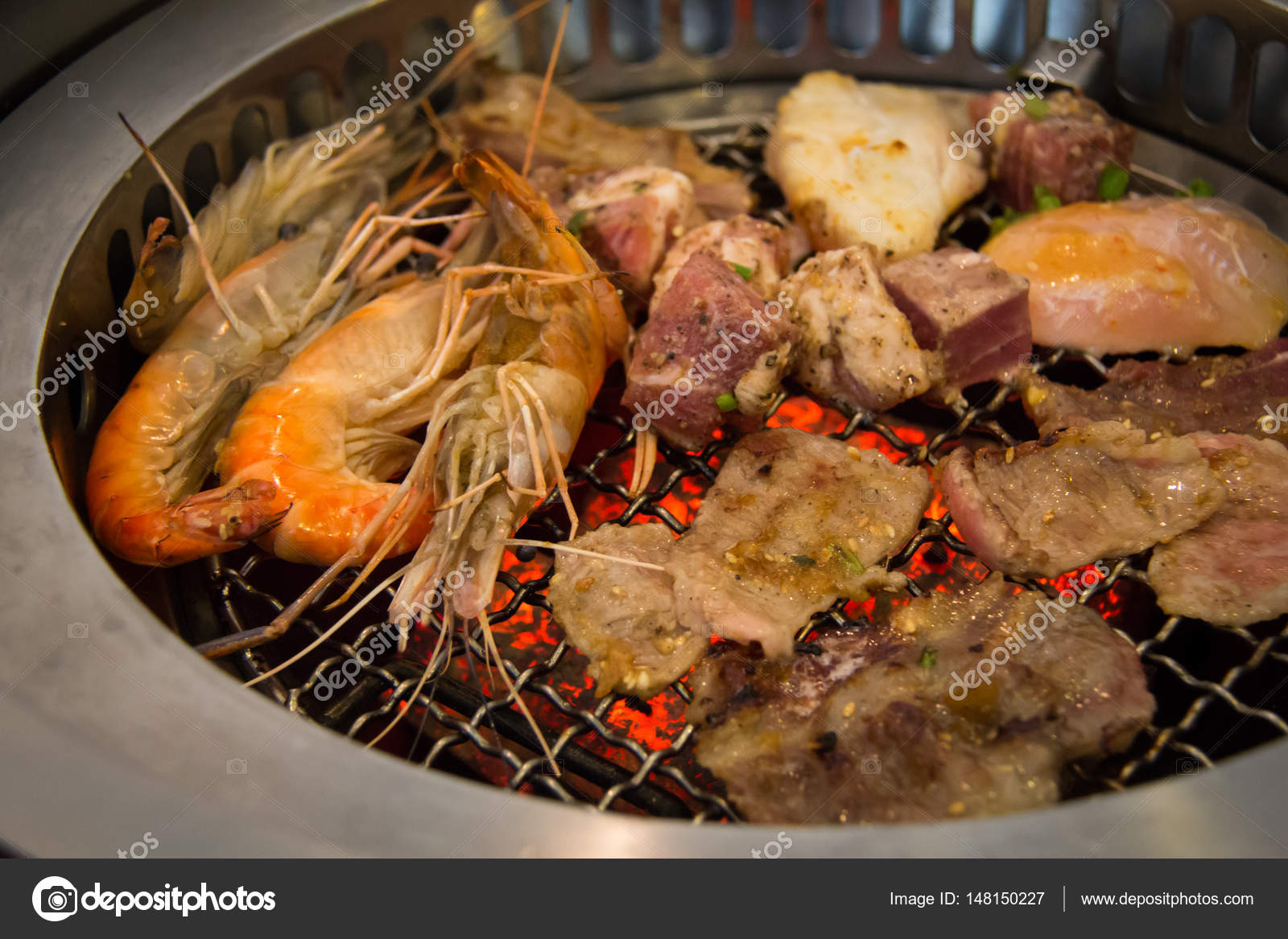 Close Delicious Grilled Seafood Platter Grill Seafood Fresh Beef Steak Stock Photo C Rusticfoto 148150227