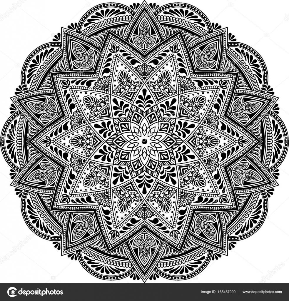 Mandala wz r du ych czarno bia e grafika wektorowa - Grand mandala ...