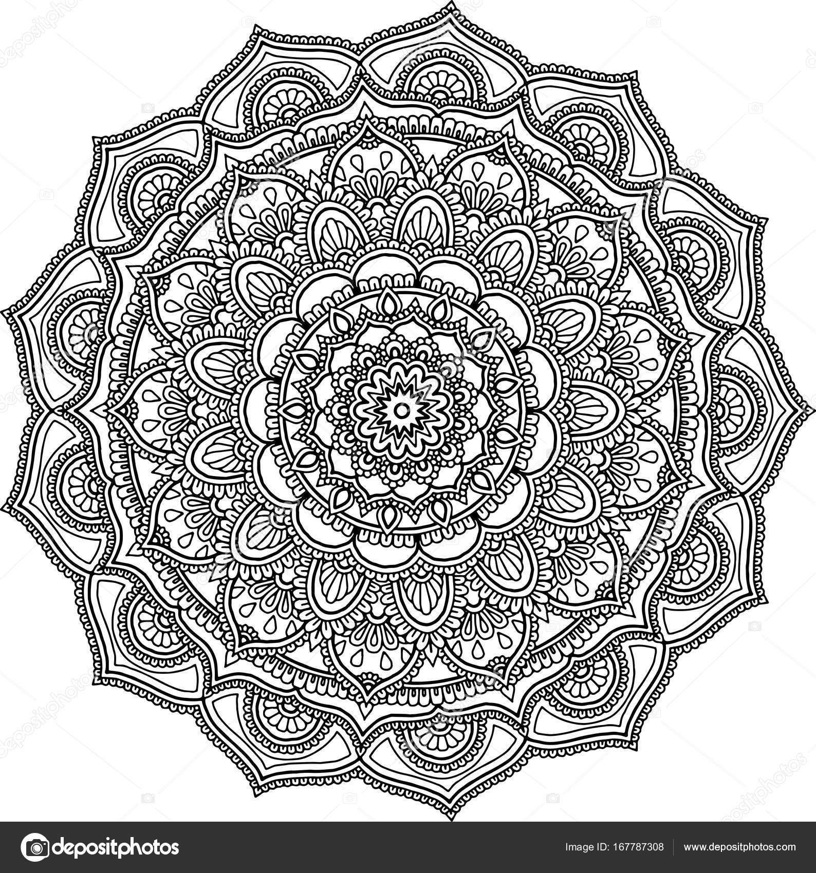 Figure mandala grande colorier image vectorielle - Grand mandala ...