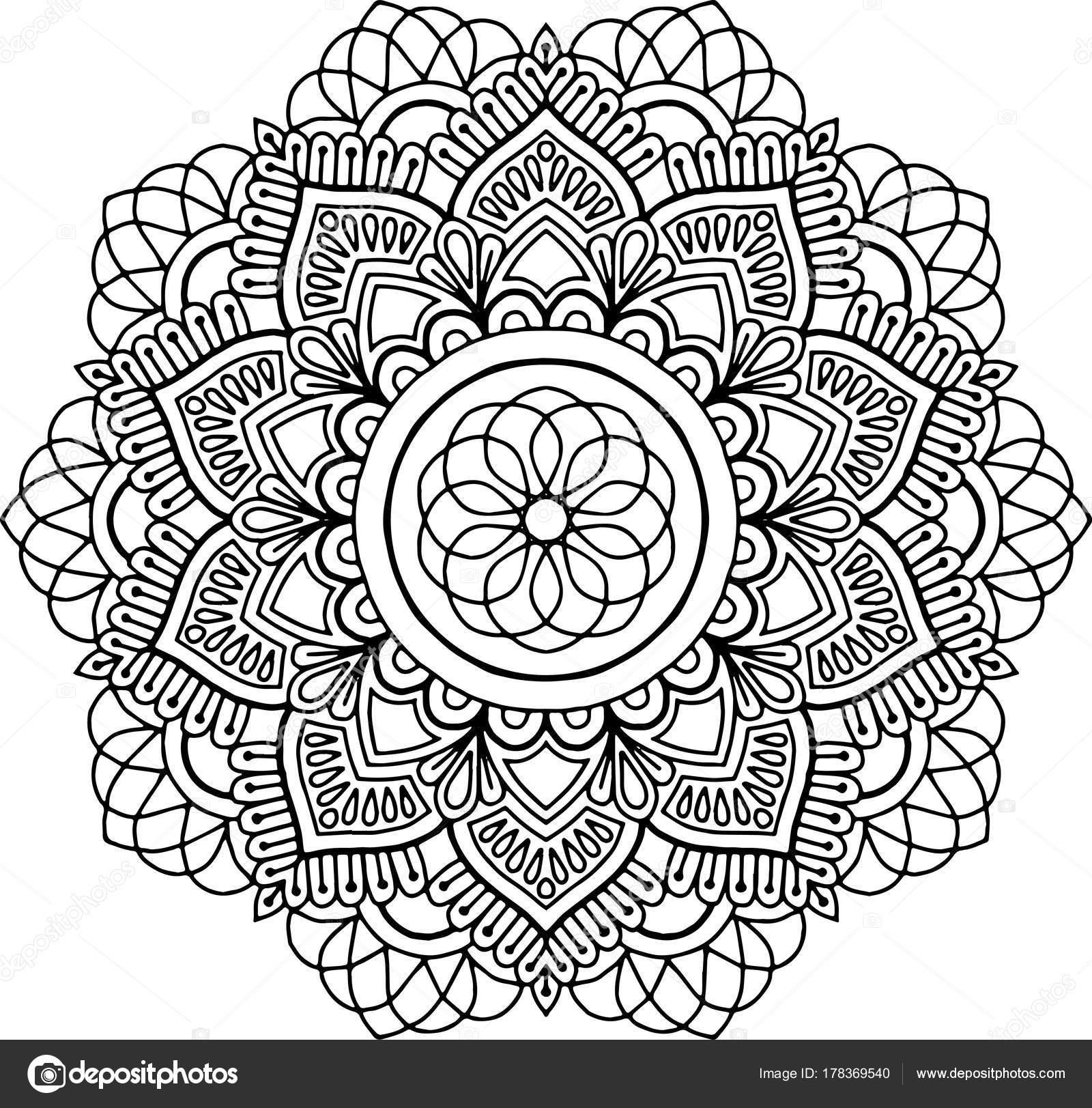 şekil Mandala Boyama Stok Vektör Tamsamtam 178369540