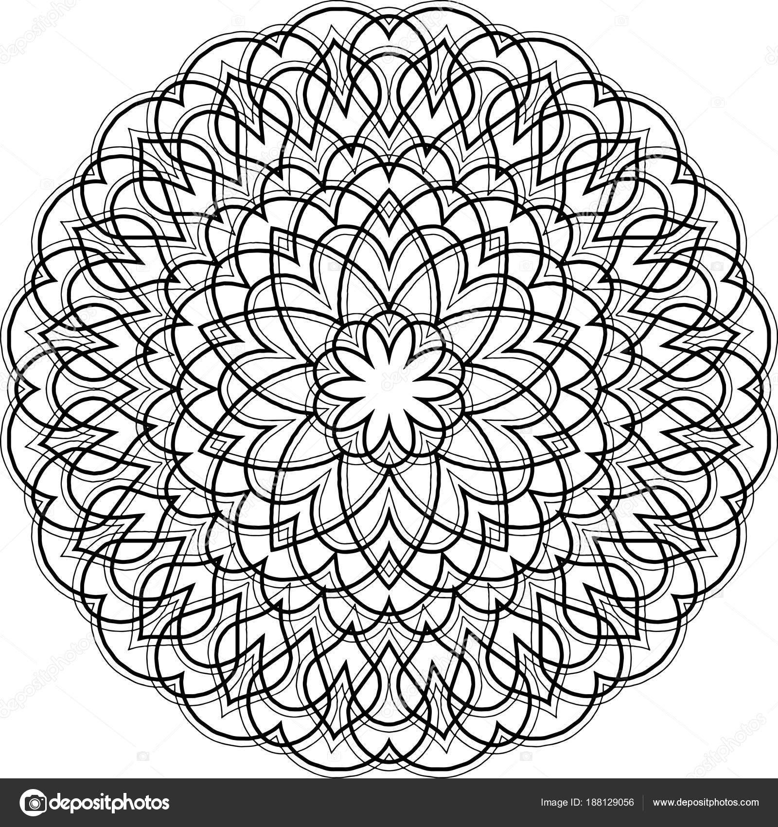 şekil Mandala Boyama Stok Vektör Tamsamtam 188129056