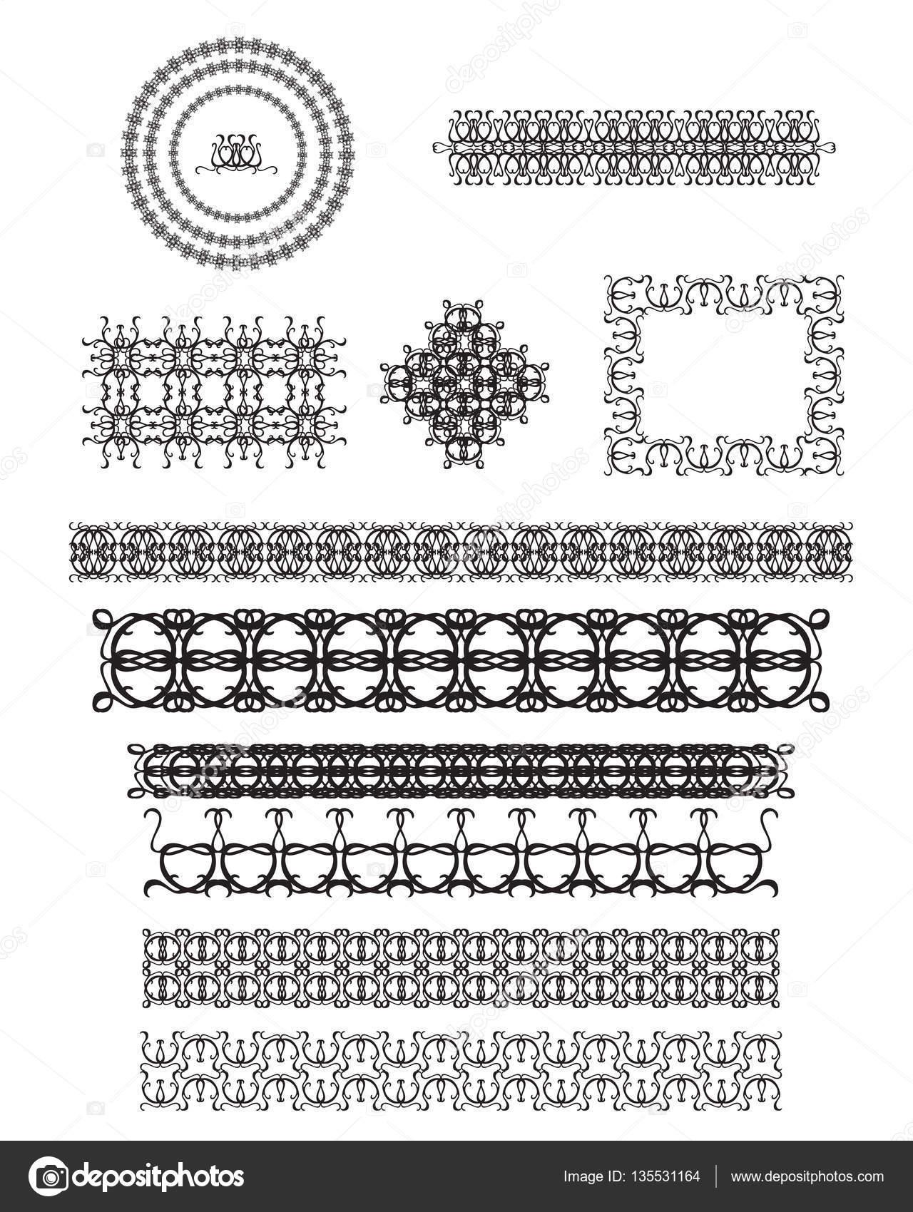 Vector conjunto de cuadros de arte de línea — Vector de stock ...