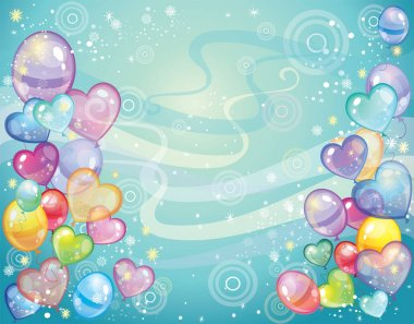 Background with balloons_turquoise