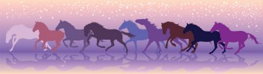 Vector background with horses run at a gallop