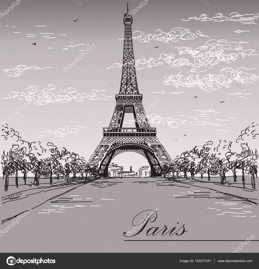 Paysage Avec La Tour Eiffel Aux Couleurs Noir Et Blancs Sur Gris Ba