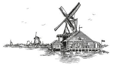 Vector llustration watermill in Amsterdam