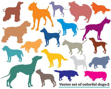 Set of colorful dogs silhouettes-2