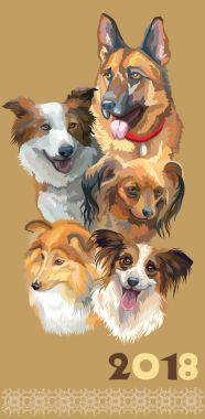 Postcard with dogs of different breeds-2