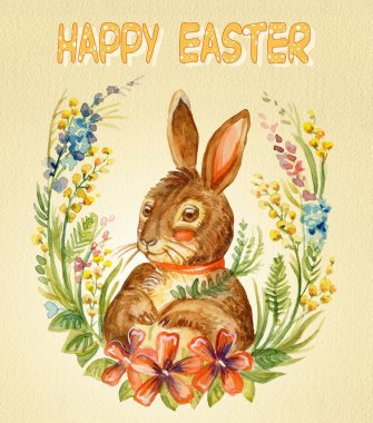Watercolor postcard of a rabbit sitting on wreath of spring flowers, stock illustration. Easter bunny characters vintage illustration isolated on yellow background. Easter concept.