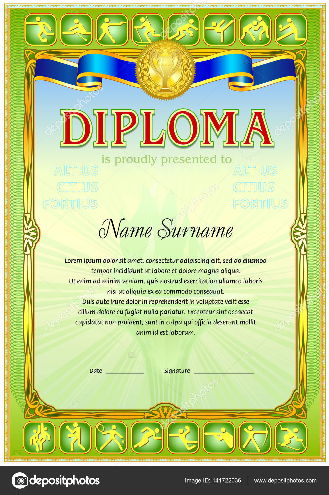 Plantilla en blanco de la diploma de deporte — Archivo Imágenes ...