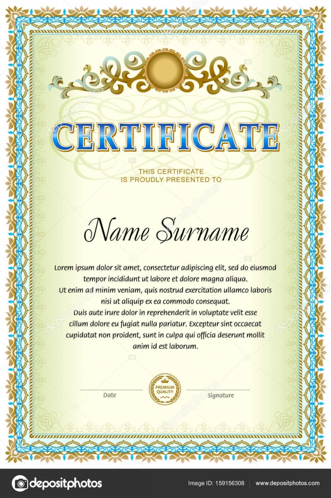 Certificate Blank Template Stock Vector Tedgun 159156308