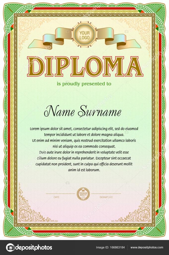 Vintage diploma blank template. — Stock Vector © tedgun #166863184