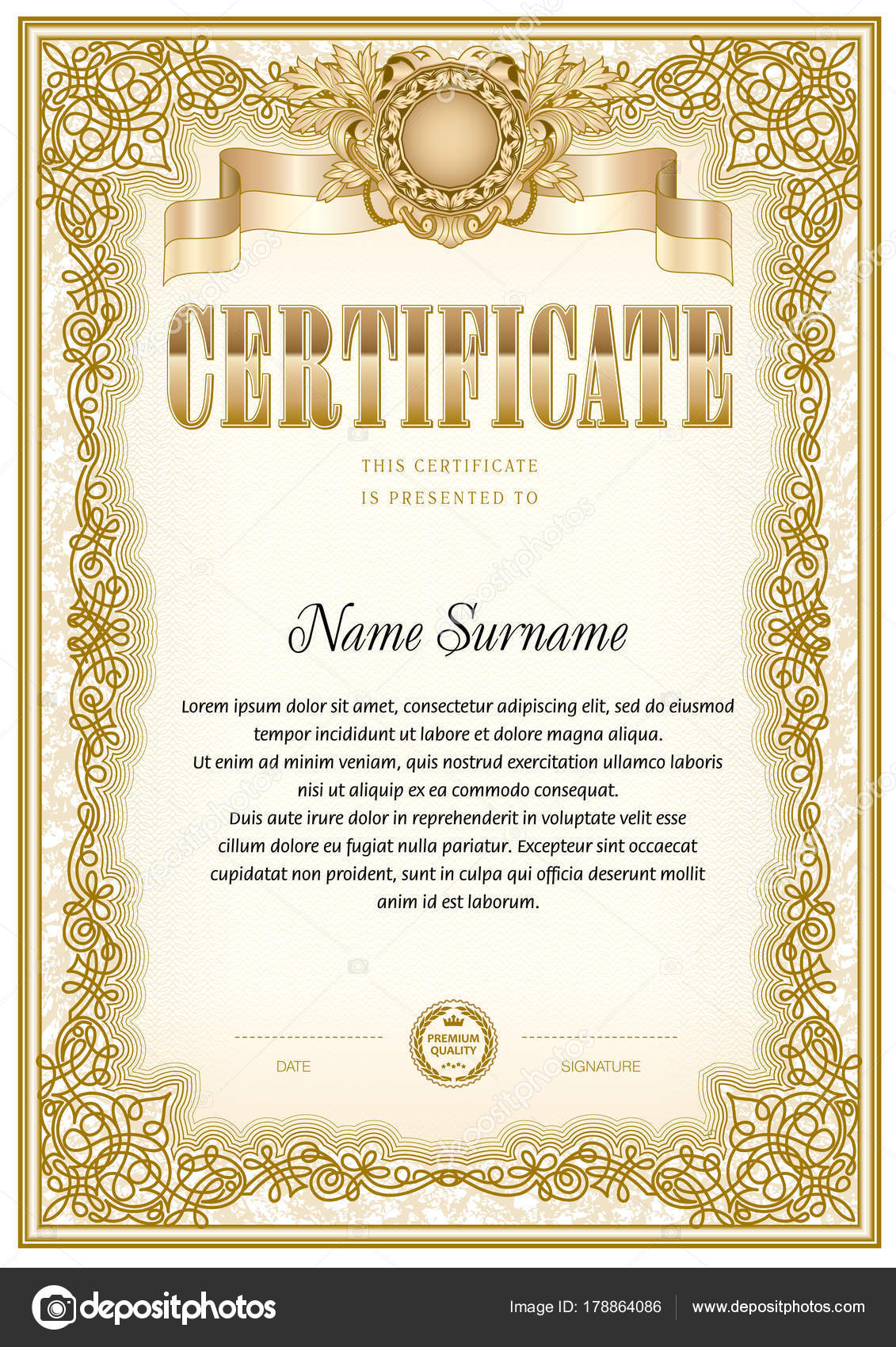 Certificate blank template can use print design award official certificate blank template can use print design award official papers stock vector yelopaper Images