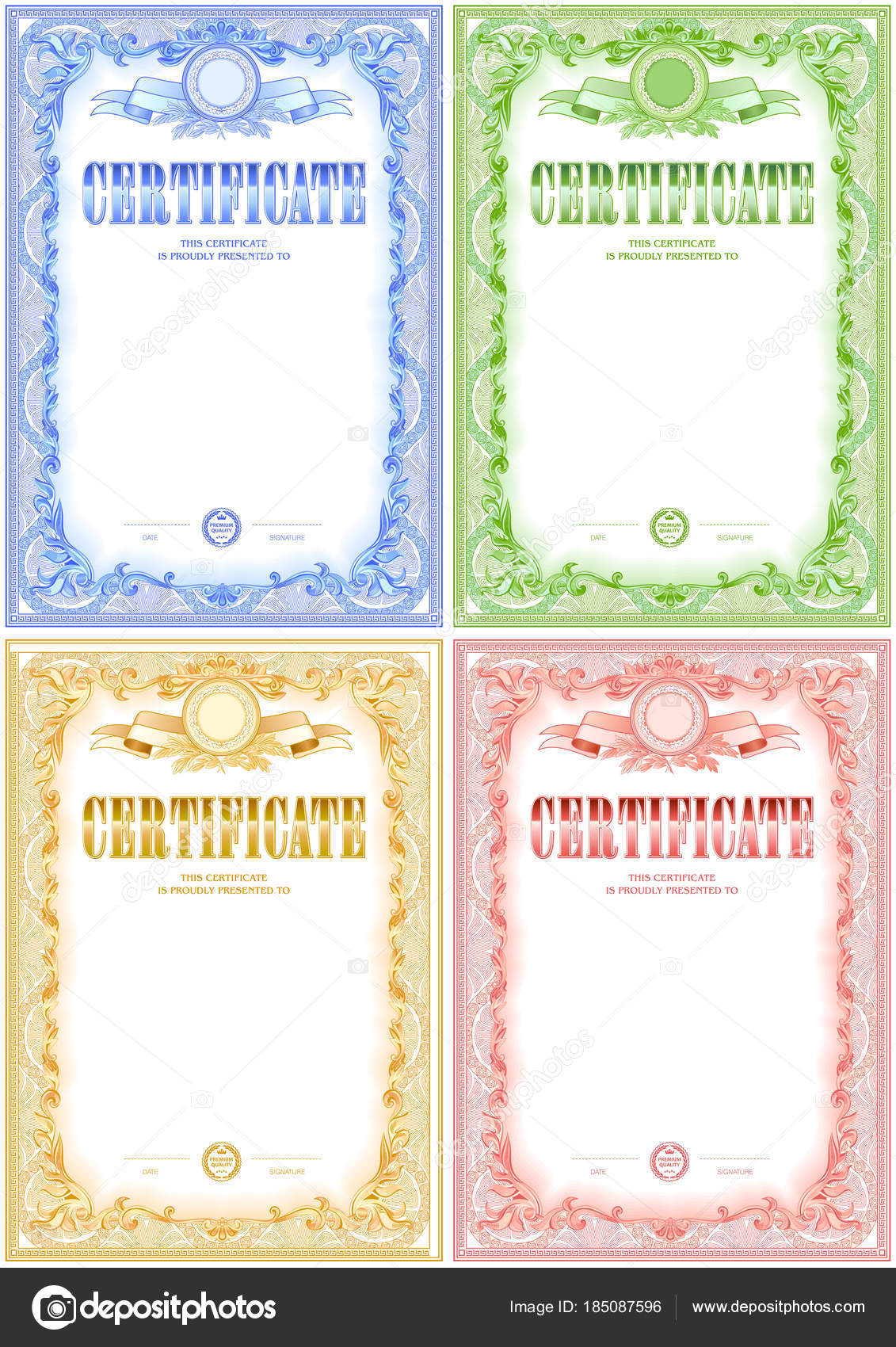 Certificate blank template set design can use award other official certificate blank template set design can use award other official stock vector yelopaper Images