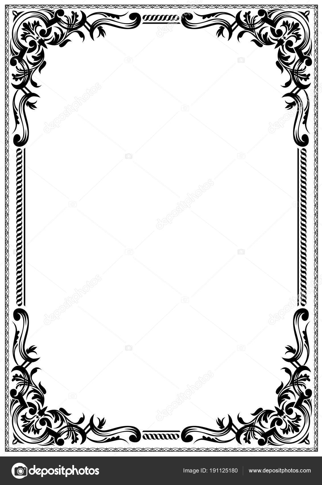 Delicate Black White Frame Border Design Greeting Cards Other Award ...
