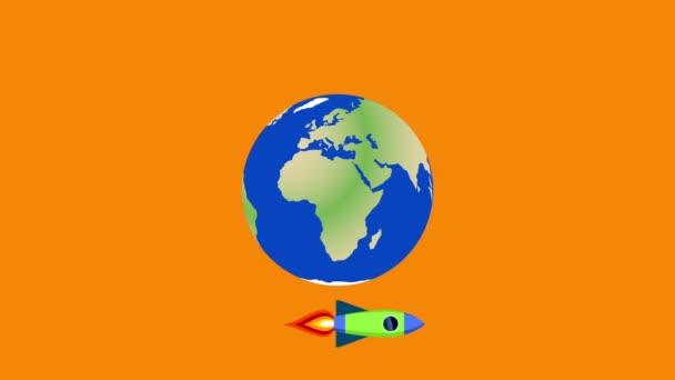 Rakéták köröznek a Föld körül. Rajzfilm animált illusztráció