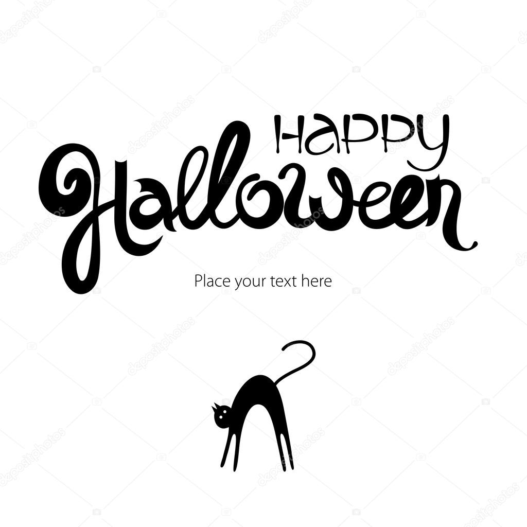 Happy Halloween Abstract Ink Lettering Black Cat Card Template With