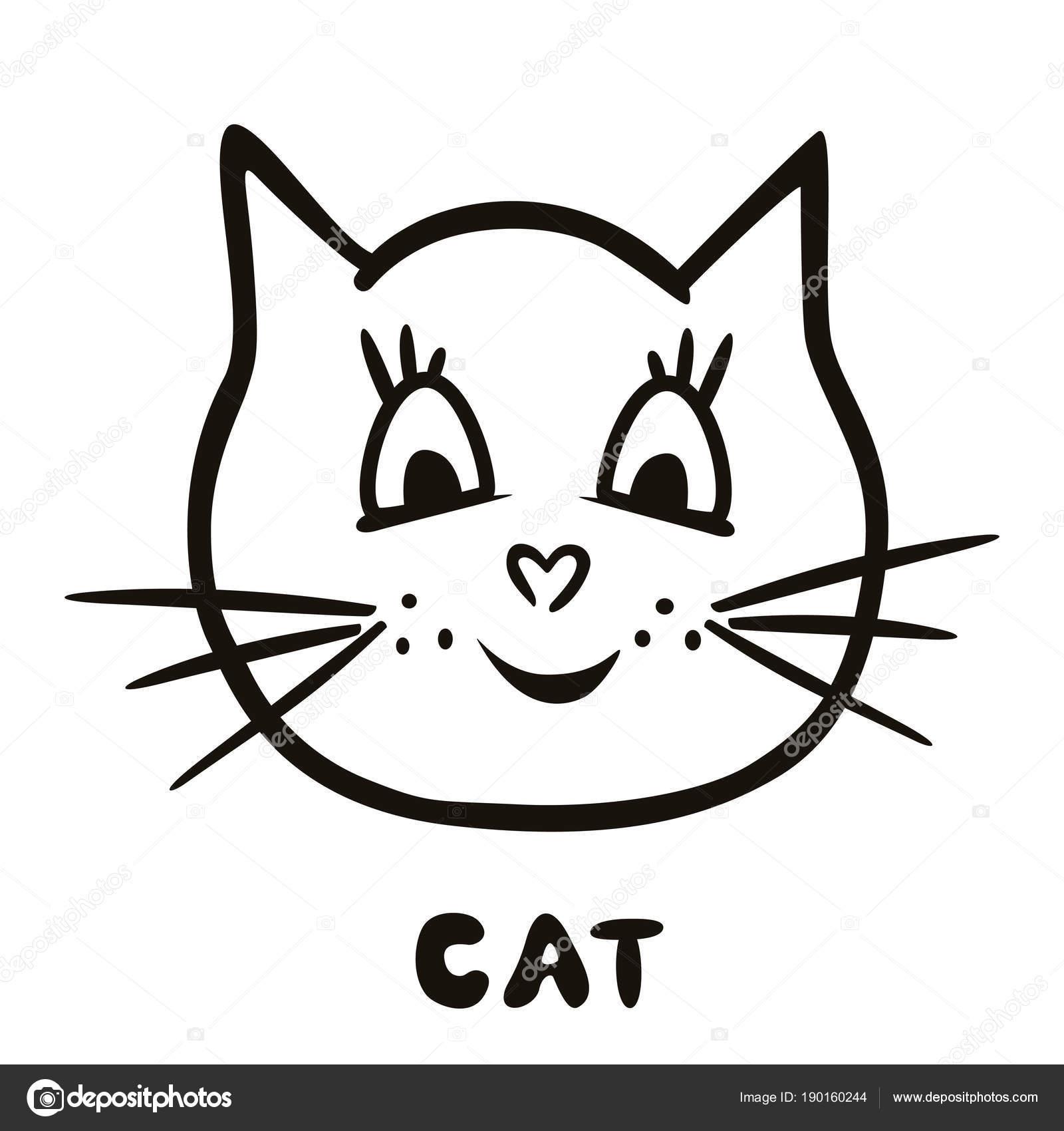 Gato de vector lindo pintado. Fondo creativo para el diseño de ...