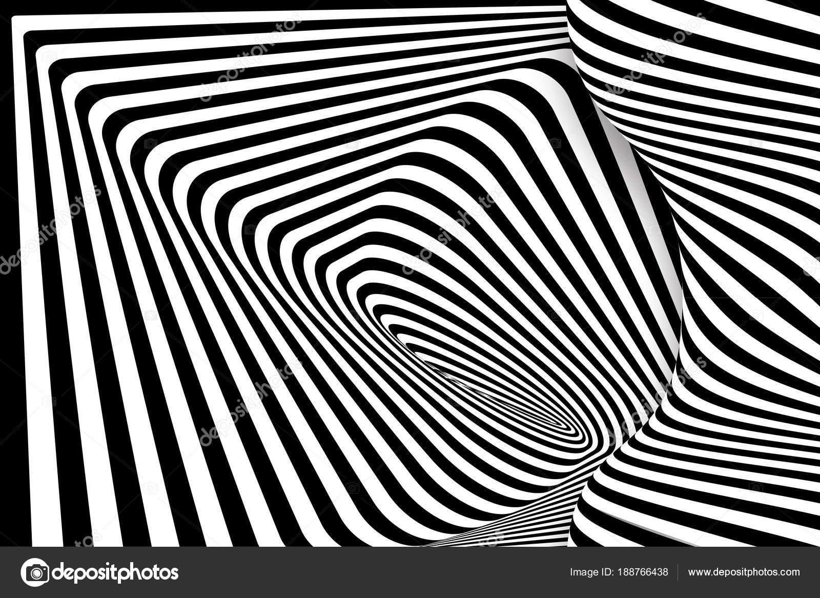 ea99d5785d Negro 3d blanco línea diseño de ilusión de distorsión. Fondo monocromo de  vector. Arte de ilustración de geométrico patrón despojado.