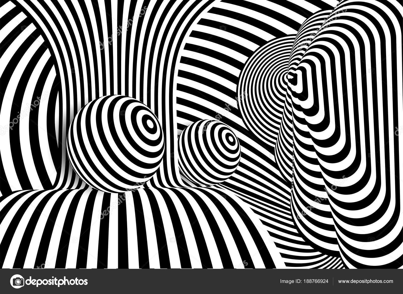 Black white 3d line distortion ball illusion stock illustration