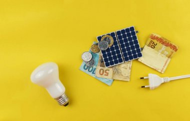 Solar panel with varied values of Brazilian money isolated in ye