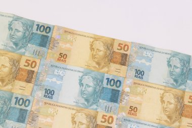 Brazilian money with blank space. Bills called Real, different v