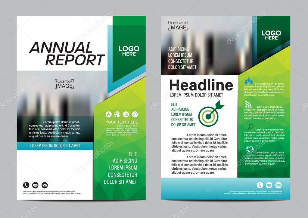 Green Brochure Layout Design Template Annual Report Flyer Leaflet