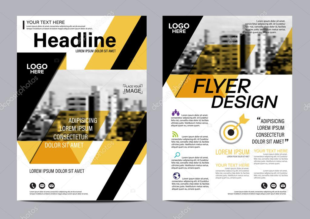 yellow flat modern brochure layout design template annual report flyer leaflet cover presentation modern background