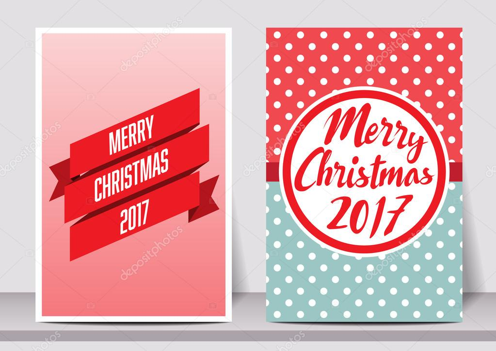 merry christmas happy new year typography flyer template with lettering greeting card poster card label banner design set
