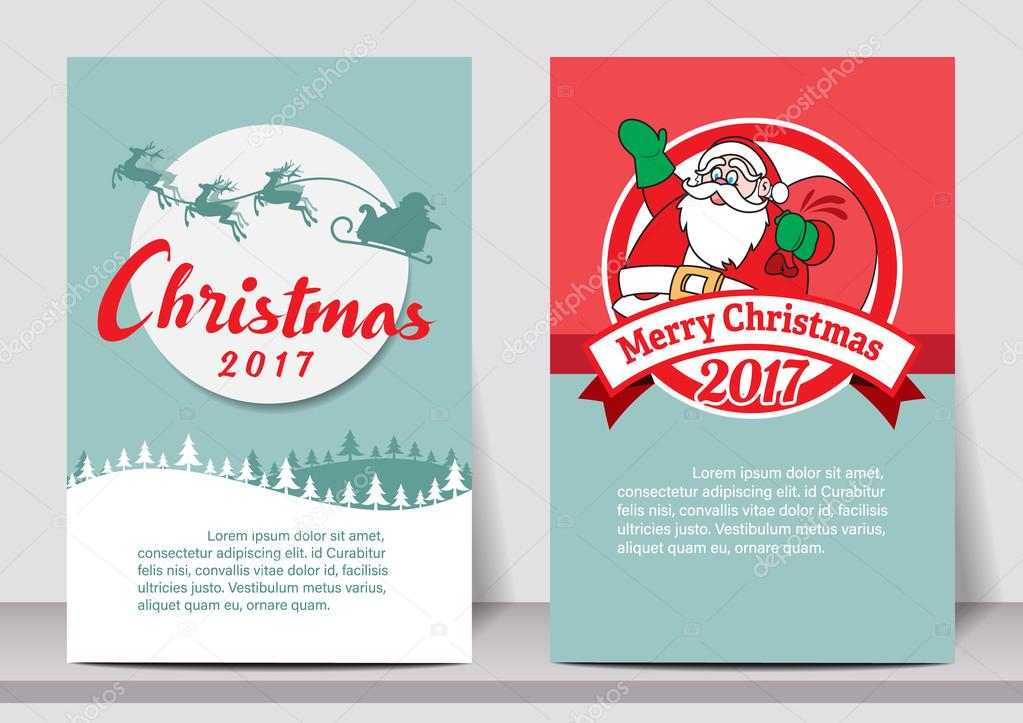 Merry Christmas Happy New Year Typography Flyer Template With