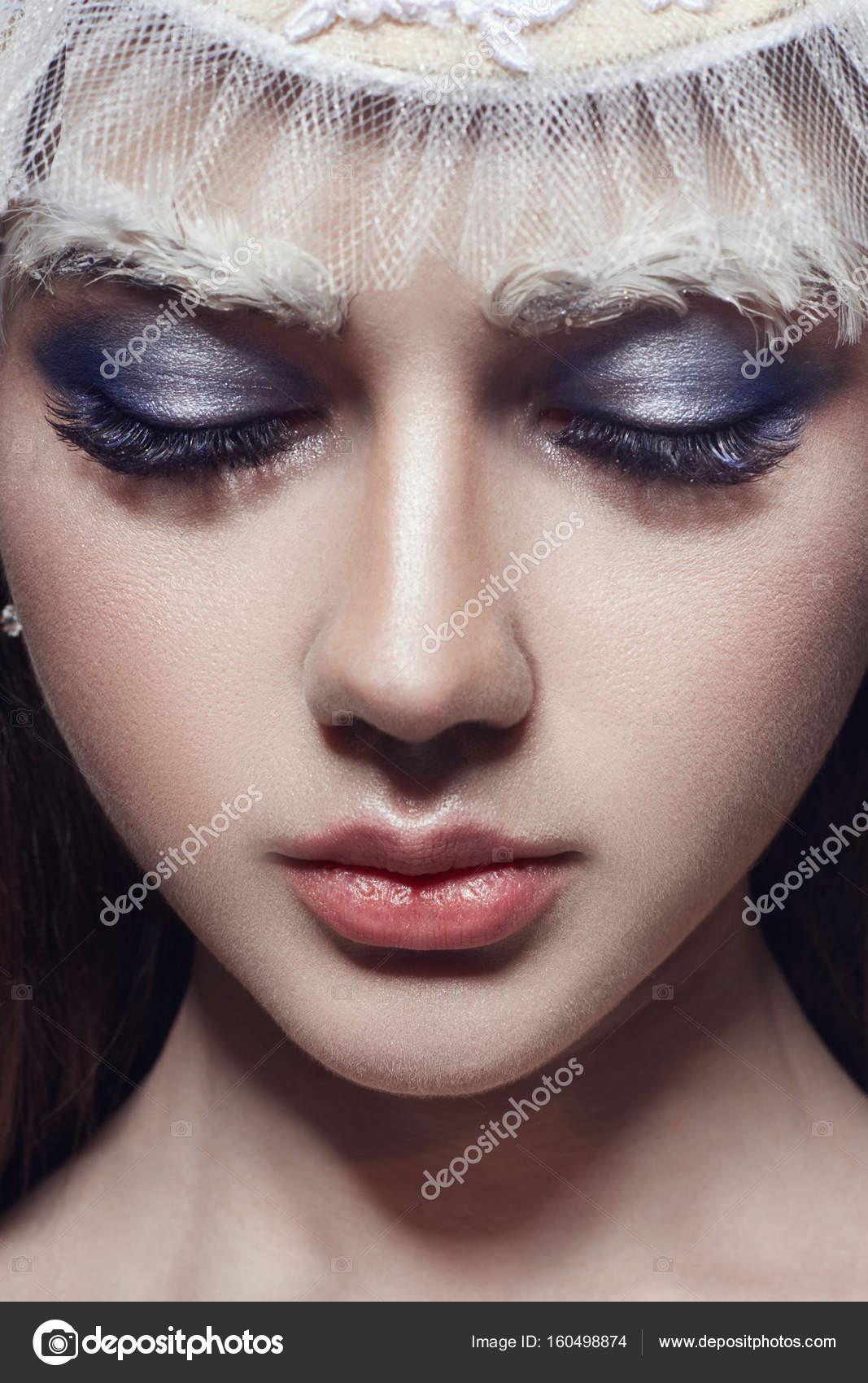Kunst Schönheit Mädchen Porträt Wimpern Und Make Up Reine Haut