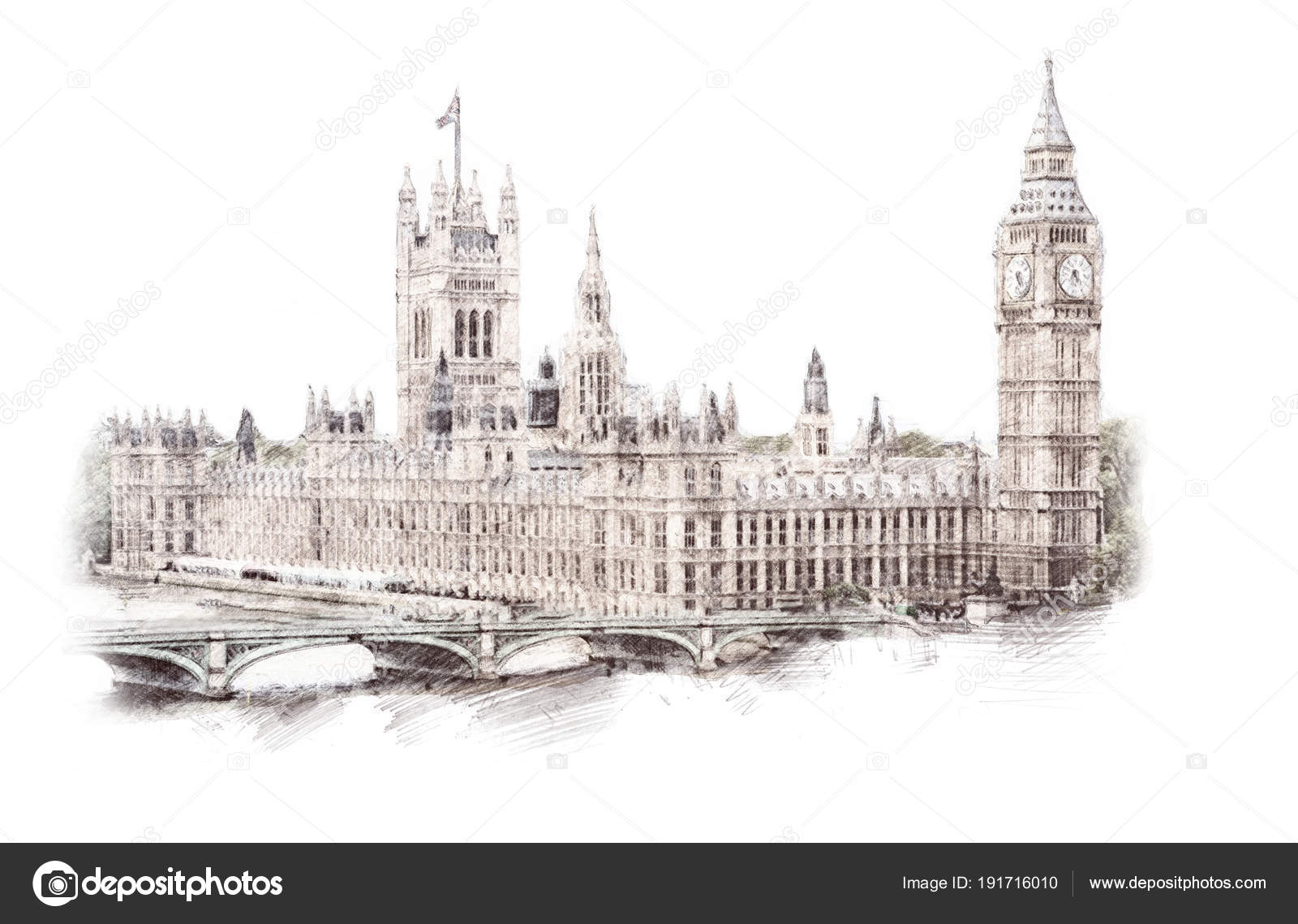Big Ben Londres Angleterre Royaume Uni Hand Drawn