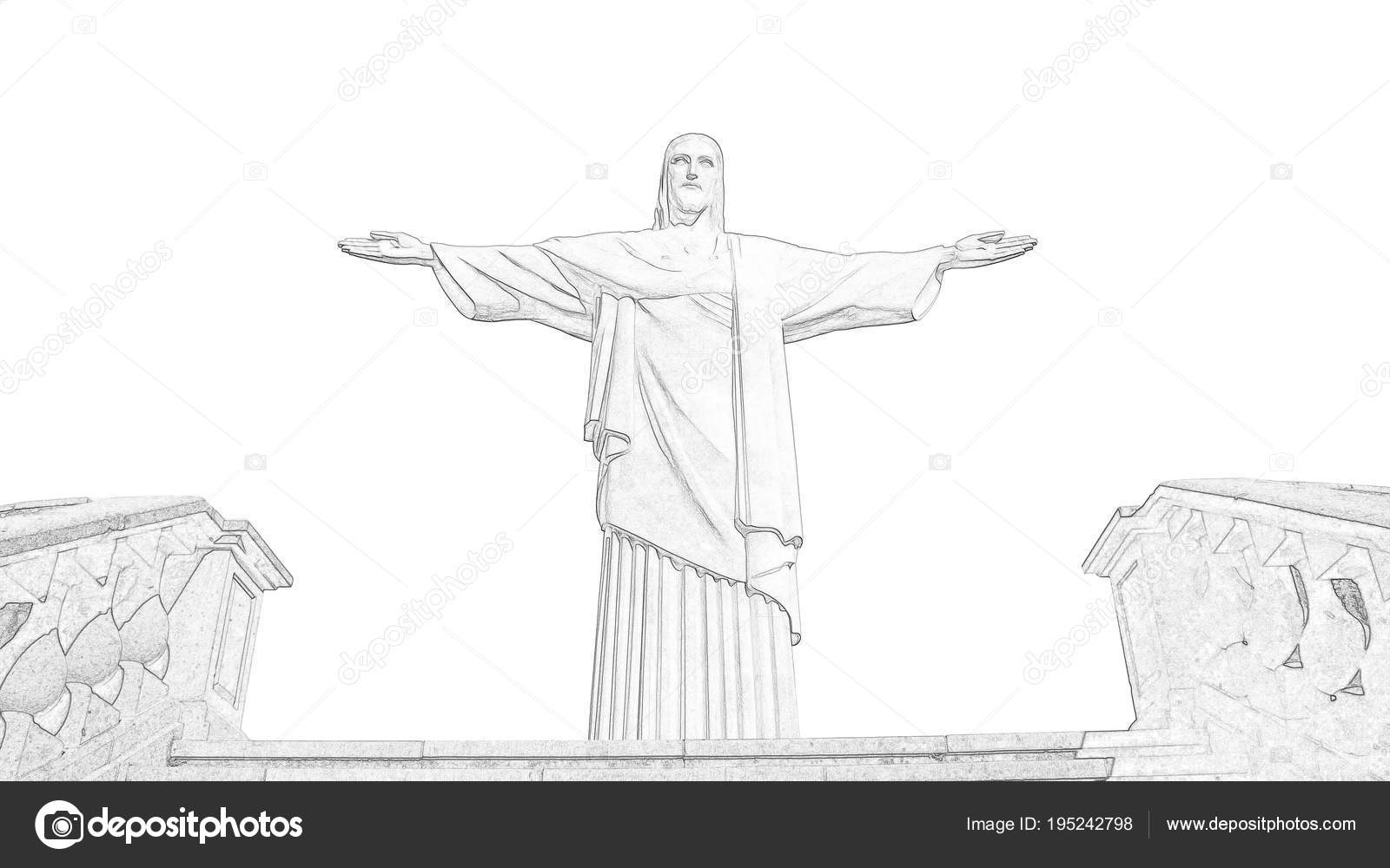 The christ the redeemer statue in rio de janeiro brazil freehand pencil sketch historical showplace for print souvenirs postcards t shirts