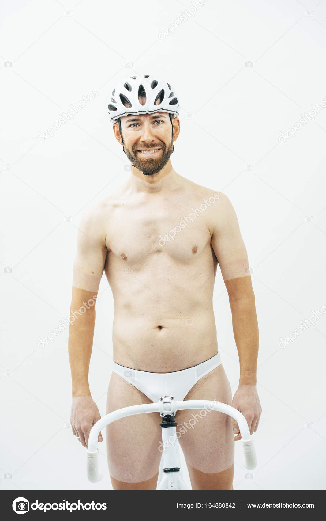 Nake Man With White Bicycle Stock Photo