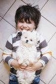 kisfiú feküdt, fehér kutyával