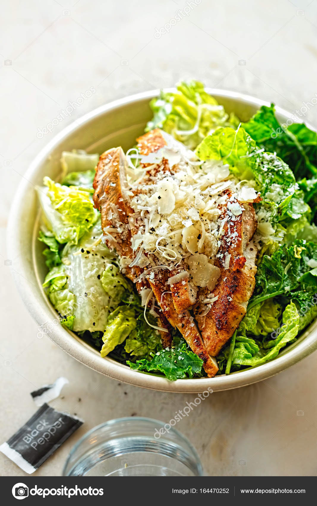 Chicken Ceasar Salad Cos Lettuce Leaves Grilled Chicken Breast