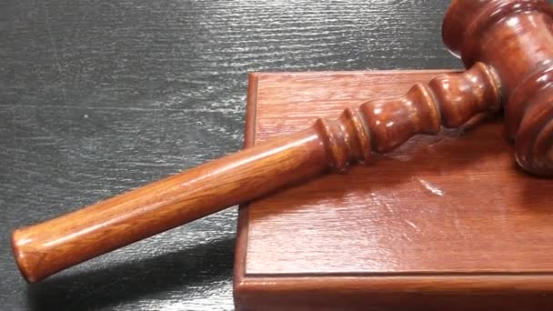 Gavel in a courtroom before gavel strike or banging
