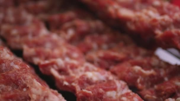 Cook Put on Spice Fresh Raw Minced Meat with Ingredients