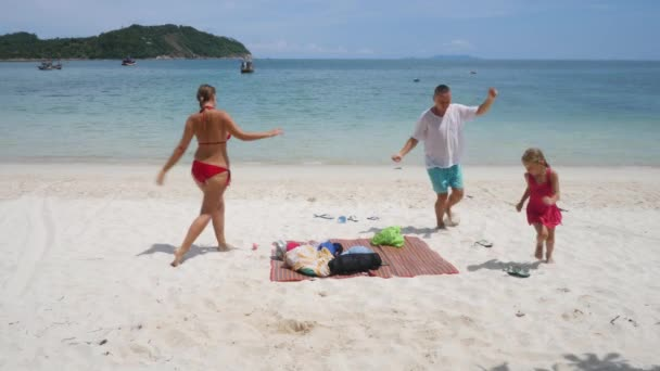 Funny family dance, laugh and smile on sea beach