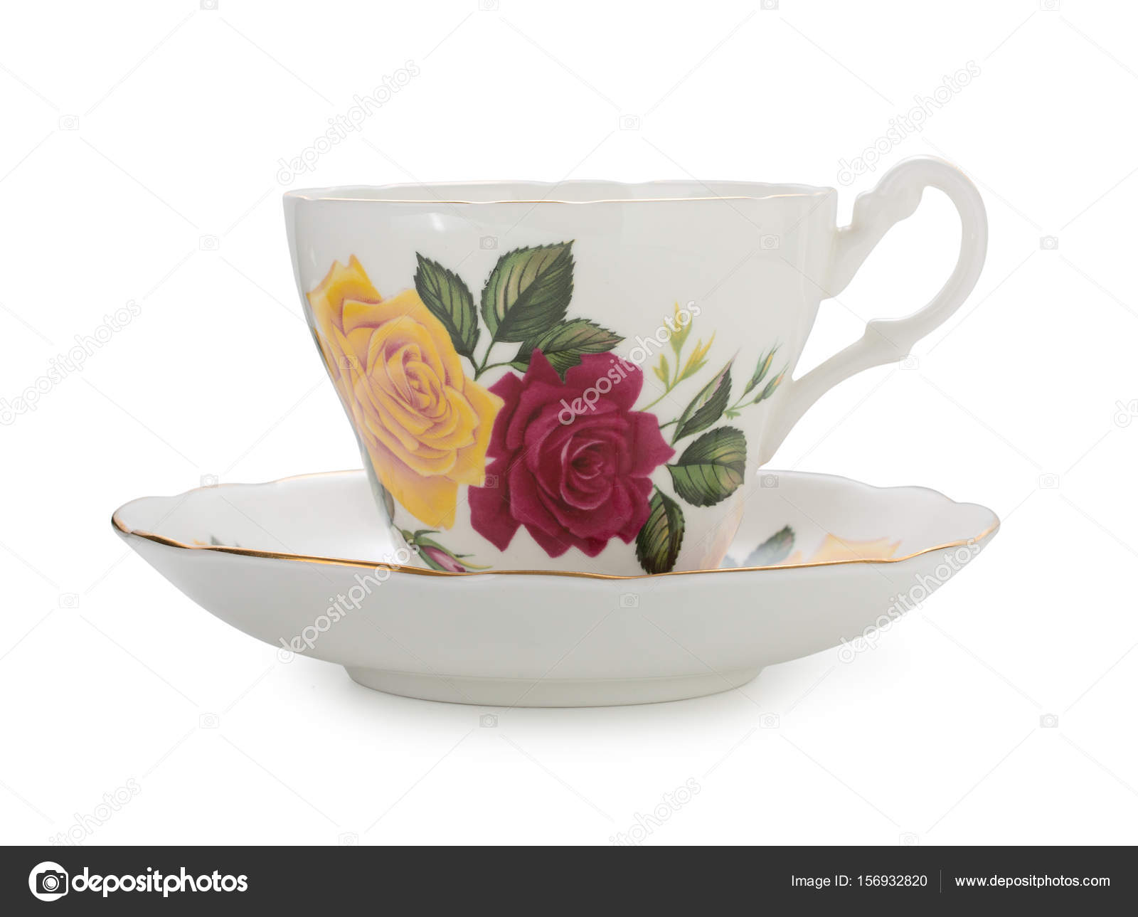 Porcellane inglesi dellannata tè tazza e piattino con belle rose