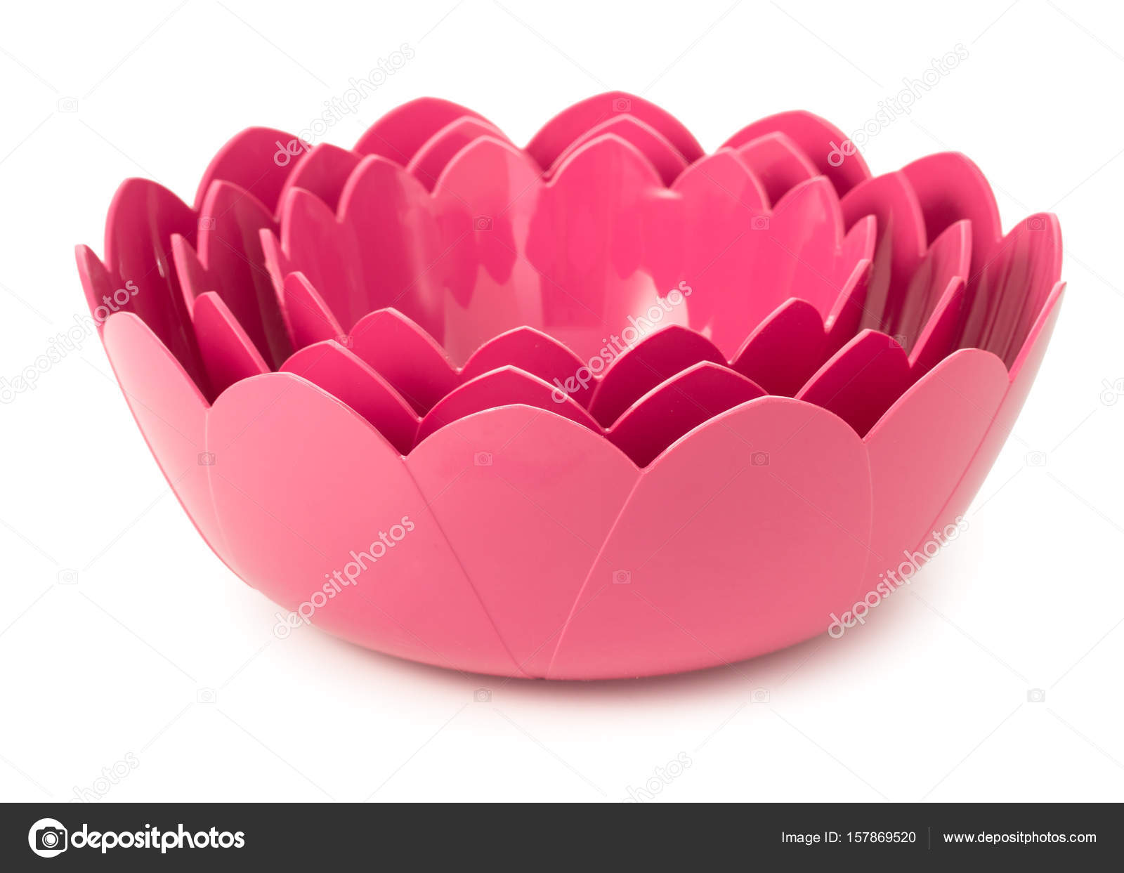 Set Of 3 Pink Plastic Bowls Made In Shape Of Flowers Of Lotus Is