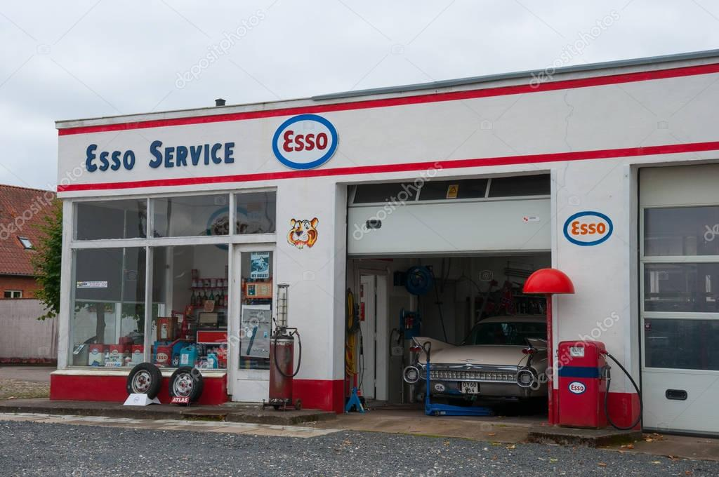 Petrol Prices In France >> Old restored vintage Esso petrol station – Stock Editorial ...