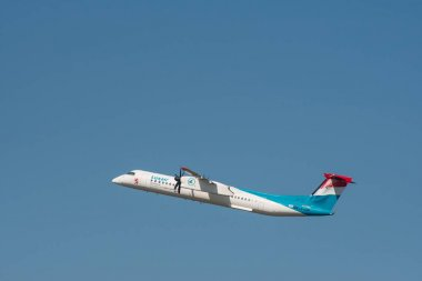 Bombardier Dash 8 Q400 from Luxair take off at Berlin Tegel Airport