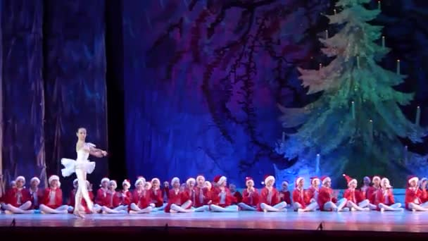DNIPRO, UKRAINE - JANUARY 8, 2018: Unidentified Children, ages 8-12 years old, perform Ballet pearls at State Opera and Ballet Theatre.