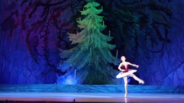 DNIPRO, UKRAINE - JANUARY 8, 2018: M. Burenko, age 10 years old, performs Variations with bells at State Opera and Ballet Theatre.